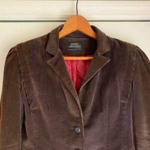 Patty Woodard Jackets & Coats - Vintage brown corduroy blazer with puff sleeve